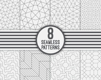 Set of vector geometric seamless patterns. Digital paper. AI+EPS10+JPEG+PNG. For commercial and personal use. Modern linear design