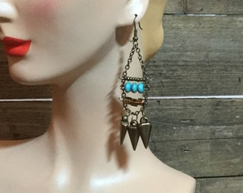 Brass, Turquoise and Copper Bead Earrings