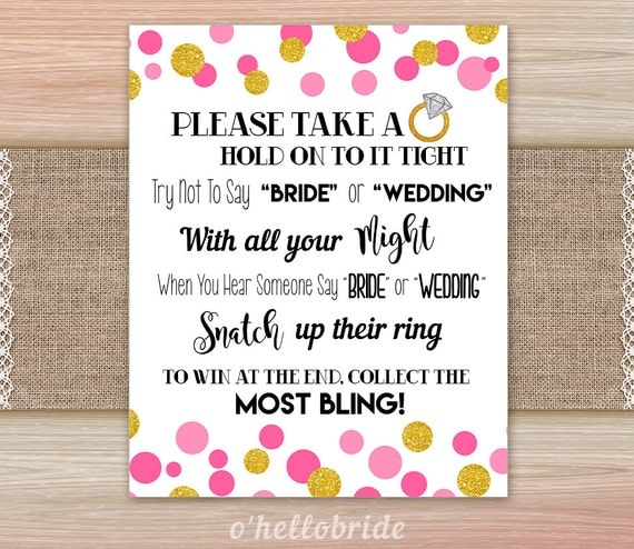 Engagement Party Games: Don't Say Bride Or Wedding Pink Gold Bridal Shower By