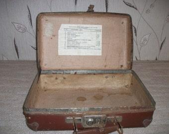 "Vintage Luggage USSR  ""Alarm suitcase."" suitcase USSR 1950, soviet army bag, retro handbag soviet era"