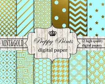 Digital paper pack, Printable paper pack, Scrapbook papers, Digital collage sheets, Mint scrapbook patterns, Digital paper printable