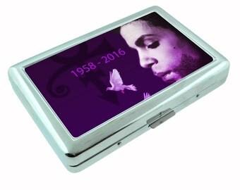 Prince Purple Rain The Artist Music Icon Metal Silver Cigarette Case Holder Wallet RFID-blocking