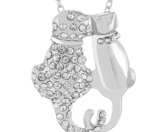 Cats Necklace Silver Plated Kittens Pendant - Elegant Gift Box