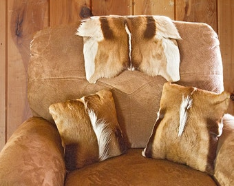 African Springbok Antelope Hair on Hide Pillows/Cowboy Decor
