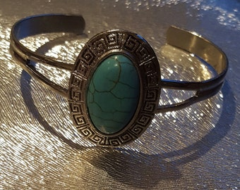 Teal and Silver Cuffed Bracelet