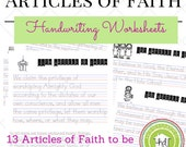 13 Articles of Faith Handwriting Worksheets - LDS Homeschooling