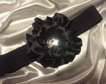 Girls Black Headband with Clear Rhinestone