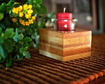 Glass Votive Candle, Votive Candleholder, Wood Votive Holder, Glass Votive, Simple Table Decor, Block Candle Holder, Oak Candle Holder