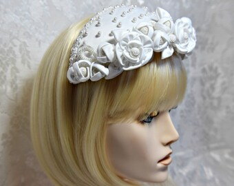 victorian bridal headpiece, juliet bridal cap, satin juliet bridal cap, pearl floral bridal headpiece, victorian rose juliet bridal cap