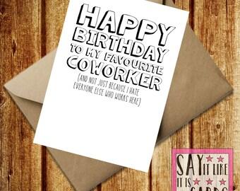 Funny birthday card best friend A6 coworker work joke comedy