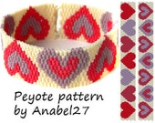 "Peyote pattern ""Hearts"" -  peyote cuff  - two-drop peyote stitch - bead pattern #85"