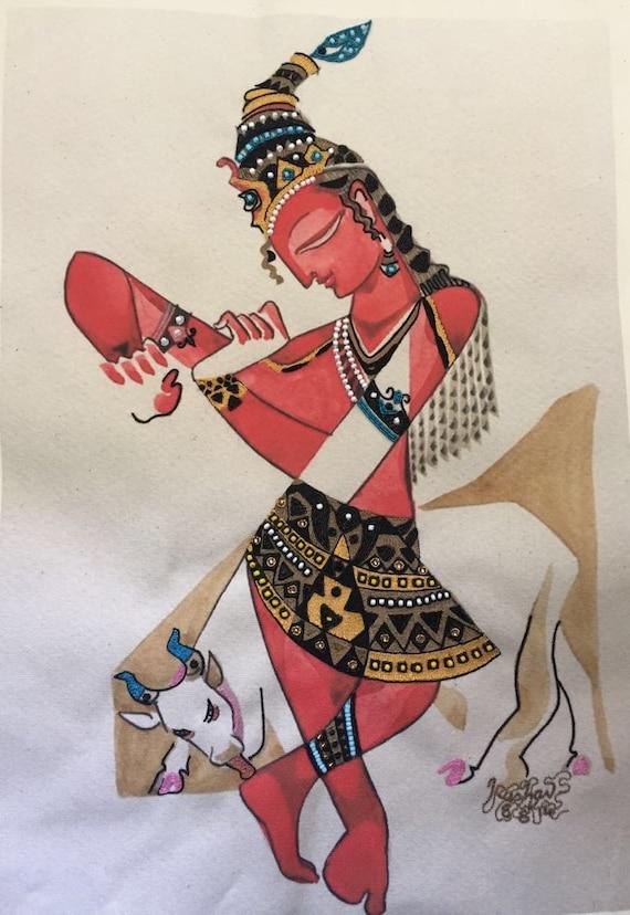 Hand embroidered krishna hindu wall art indian ethnic
