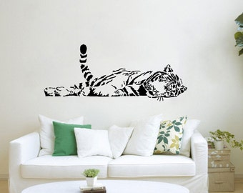 Sleeping Tiger wall decal vinyl sticker wall art mural Zoo Safari available in 10 different sizes and 30 different colors