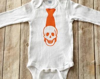Skull Tie Halloween Shirt - Boy Halloween Outfit - Tie Bodysuit - Happy Halloween