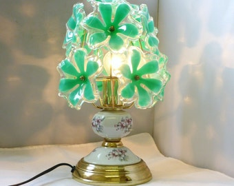 Vintage touch lamp Ceramic-brass with Plexiglas bouquet of green flowers