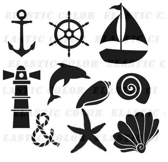 Nautical Svg Silhouette Clipart Pack Nautical Clip Art