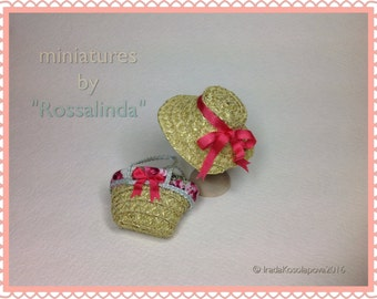 Straw Hat and Bag for doll in 1/12 scale .Dollhouse miniatures