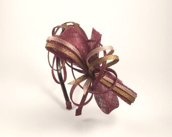Antique gold, Bronze, Copper and Bordeaux Fascinator Headband