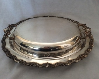 Vintage Ornate Silver Plated Serving Dish with Lid
