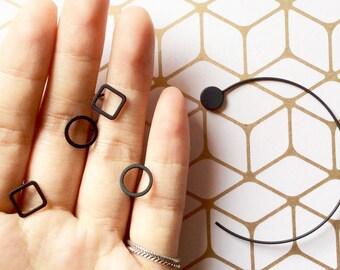 Earring, jewelry ear minimalist, geometric, / Cube/rectangular, earring
