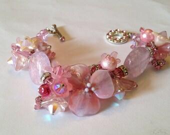 PRETTY IN PINK-Handmade Lampwork Bracelet