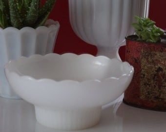 Vintage Milk Glass Bowl / Planter / Candy Dish by E.O. Brody Co. with Scalloped Edges #1