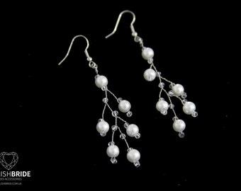 Pearl wedding earrings, Silver Pearl earrings, handmade earrings, Handmade Pearl earrings, Jewelry earrings, Handmade jewelry, Wire earrings