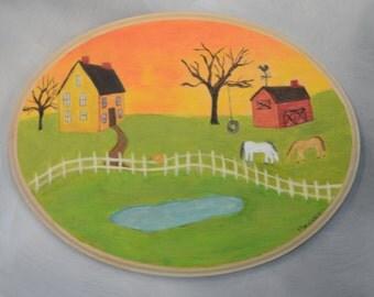 Folk Art Painting on wood.