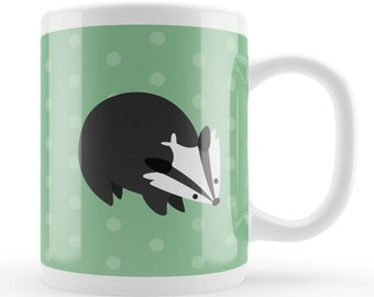 Cute Badger Gift Mug, Cartoon badger gift, badger lover present idea, cute animal mug UK, unique gifting idea, geen mug