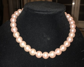 Pink Pearl Necklace and matching Earrings
