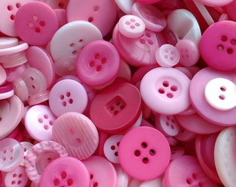 Mixed pink buttons, assorted sizes FREE postage