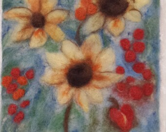 Needle felted flower picture
