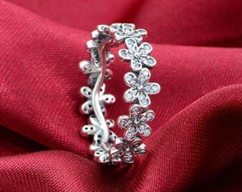 Authentic 100% 925 Sterling Silver Dazzling Daisy Meadow Stackable Flower Ring with Clear CZ - European Jewelry Diy