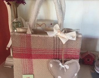 Plaid check fabric pannelled jute bag