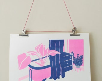 Plant in Bathtub 2 colour A3 Risograph print. Limited run of 30.