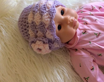 Pink and Lavender  Crocheted baby hat with Pink Rose