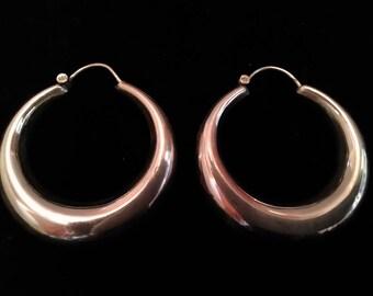 Tribal earrings Silver 925.Argollas silver tribal 925.Argollas tubular. Sterling silver earrings. Tribal fat hoops. Sterling silver hoops