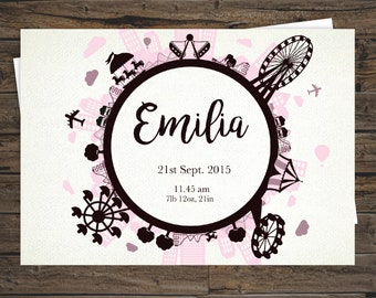 Birth Announcement - Carnival Themed Personalised Print