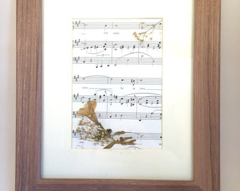 pressed flowers on sheet music of so in love from kiss me kate musical in 8x11 frame perfect wedding gift or anniversary gift