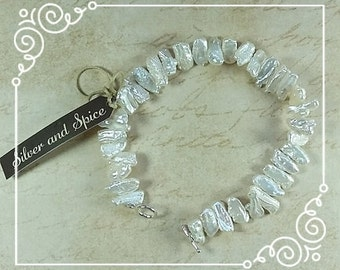 Keishi Pearl bracelet with Sterling Silver Toggle Clasp
