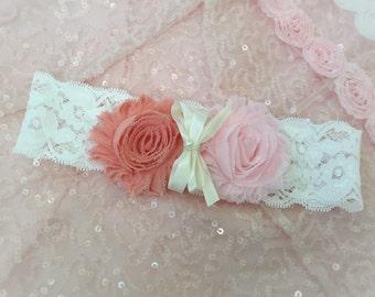Pink and Coral headband, Flower girl headband, Chiffon flower headband, Girl headband, Baby headband,Lace headband, Bow headband