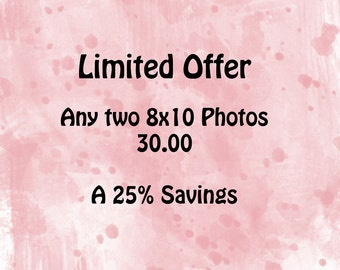 Limited Offer, Two 8x10 Photos, Your Choice, 30.00, A 25% Savings