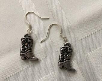 Silver Toned Cowboy Boot Pierced Earrings