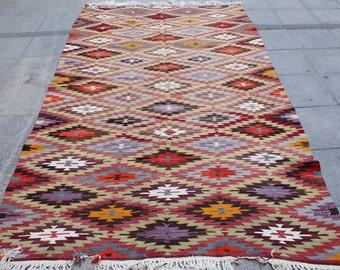 Kilim rug, vintage rug, turkish kilim rug, area rug, colorful rug, pink rug 9 x 5 ft