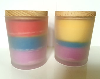 Two Scented Multi Colored Burred Glass Container Multi Scented Candles