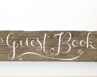 Guestbook Sign - Hand-Painted, Rustic, Reclaimed Wood, Party, Event, Wood, Wedding