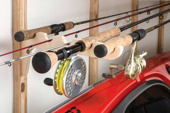 Fishing rod rack fishing pole rack horizontal for Horizontal fishing rod rack