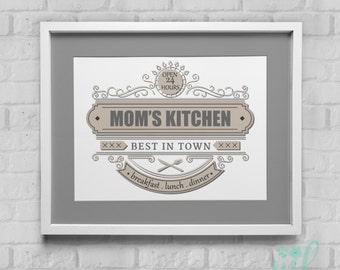 Mom's Kitchen Scroll Kitchen Art Instant Download Wall Art 8x10/11x14