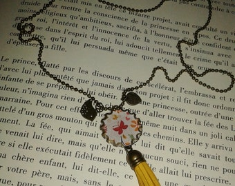 Long necklace fancy - pendant - Pompom -