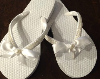 Flower Girl flip-flops, satin and pearl flip-flops fancy flip-flops